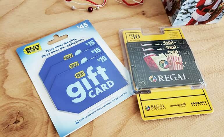 multi-pack gift cards for Best Buy and Regal Cinemas