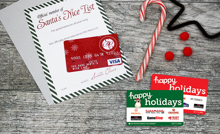 santas nice list gift card and happy holiday options