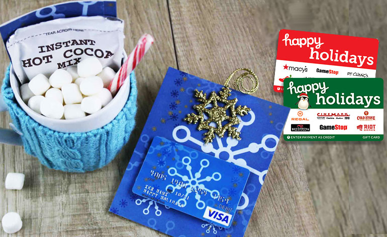 warmest wishes gift card holder with happy holidays gift cards