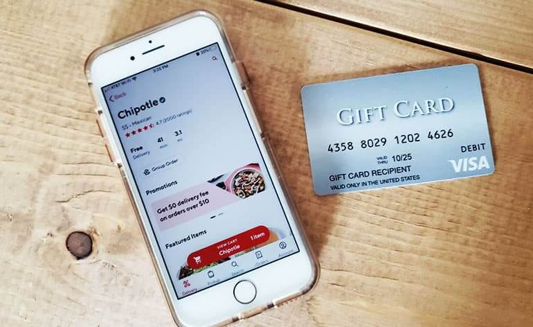 visa gift card with food delivery app
