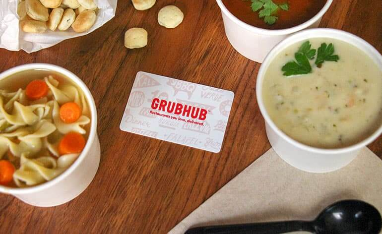 grub hub gift card on table