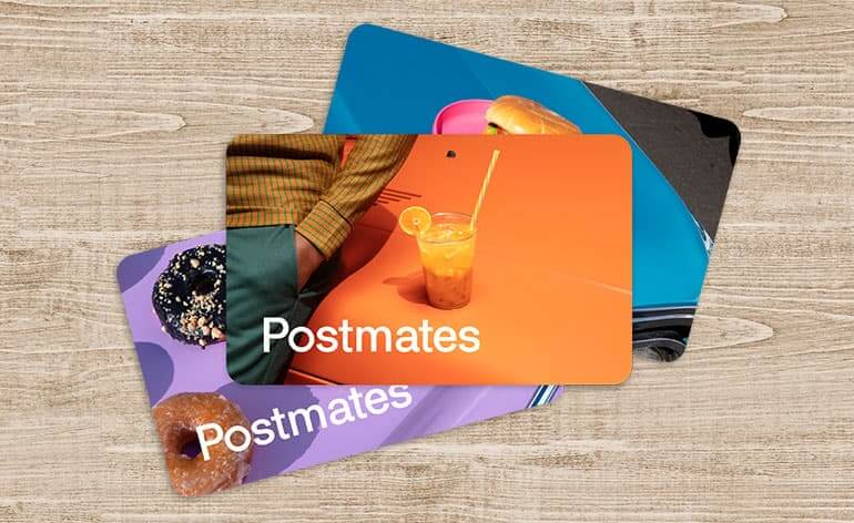 postmates gift card on a table