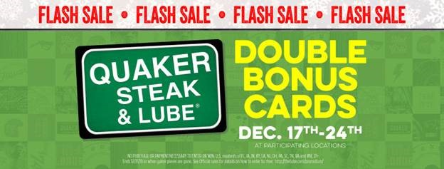 Quaker steak and lube gift card deal