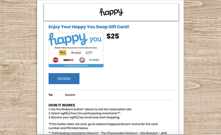 Happy You egift card before swap