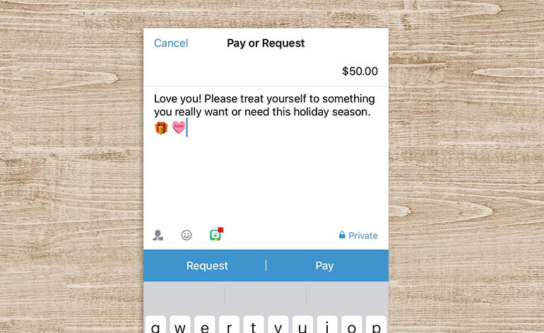 venmo gift for the holidays