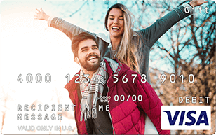 Couple on personalized Visa gift card