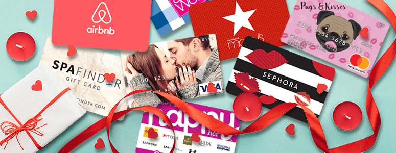 brand gift cards for Valentine's Day