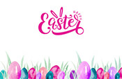 Easter eggs in grass gift card design