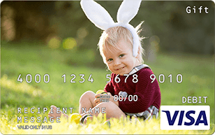 Toddler with bunny ears on Visa gift card