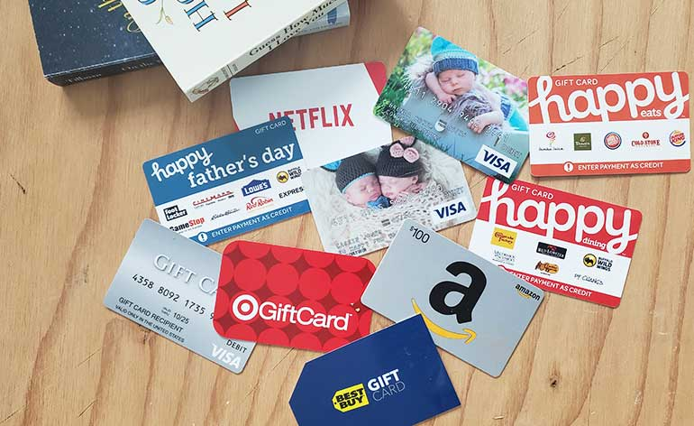 collection of gift cards for new dads