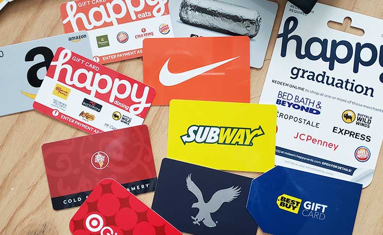 collection of gift cards for middle school graduates