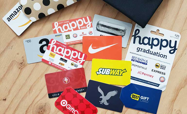 collection of gift cards for younger graduates