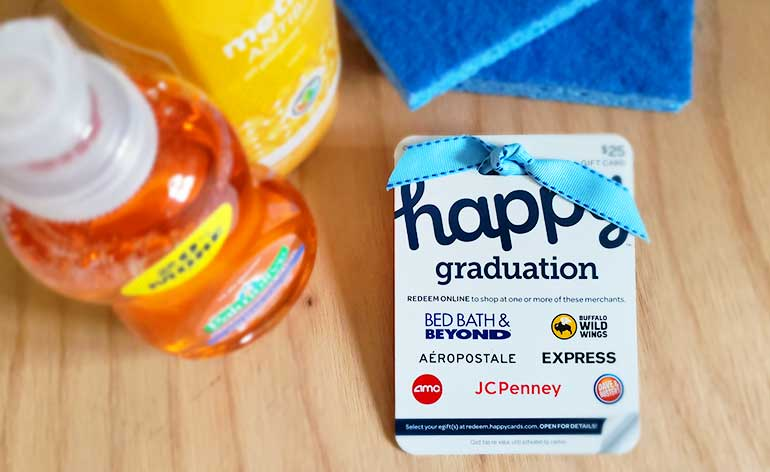 happy graduation egift card with cleaning supplies