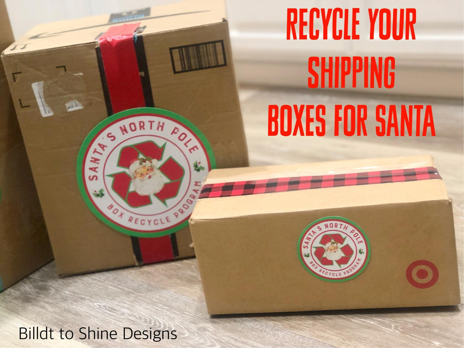 santa stickers to recycle boxes