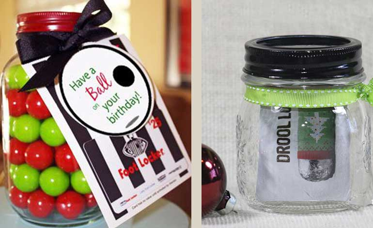 gift wrapped in a mason jar