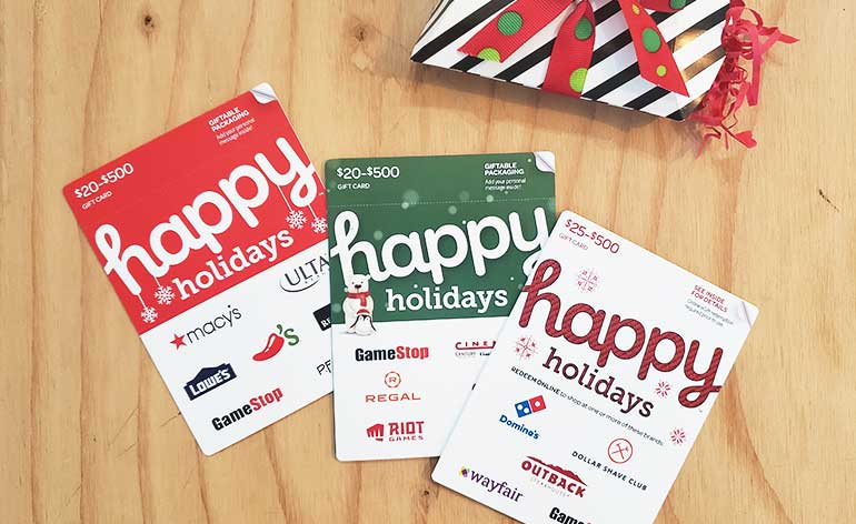 Happy Holidays gift cards