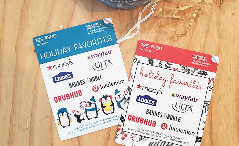 holiday favorites gift cards