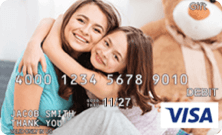 Mother and daughter hugging on Visa gift card