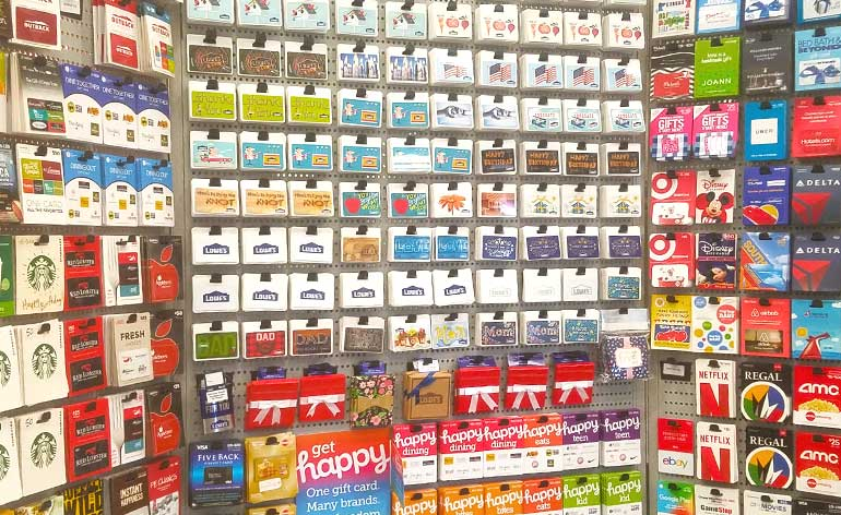 gift card rack at hardware store