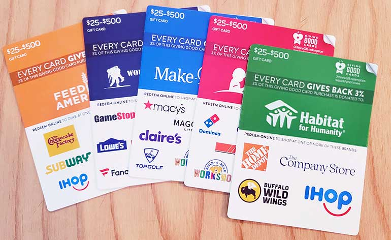 Giving Good gift cards