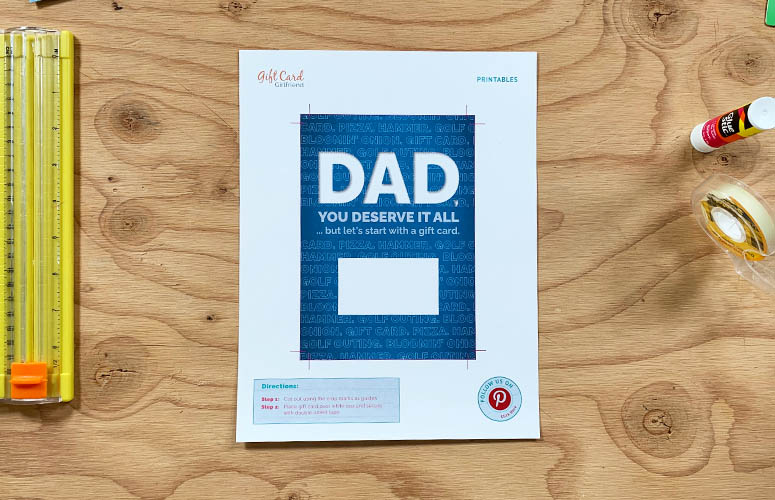 flat printable gift card holder for dad deserves