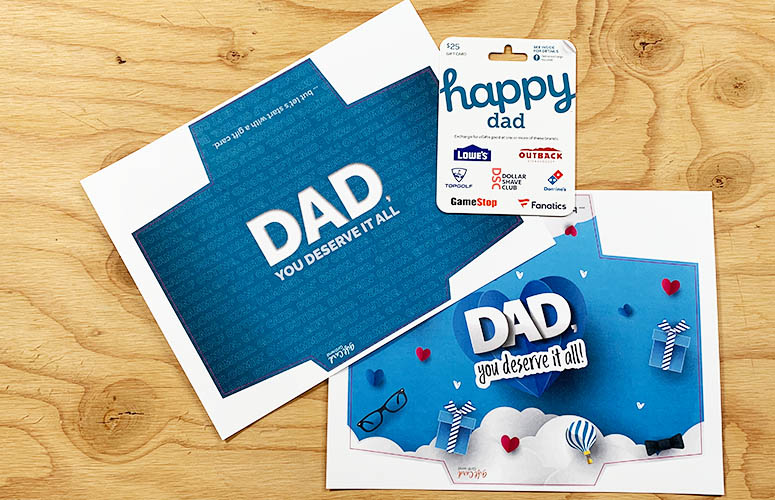 two printable gift card holders for dad
