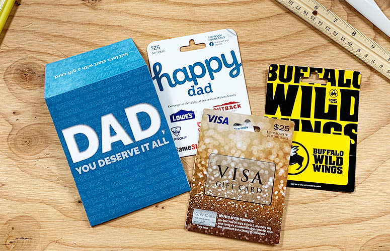 gift card holder with gift cards for dad