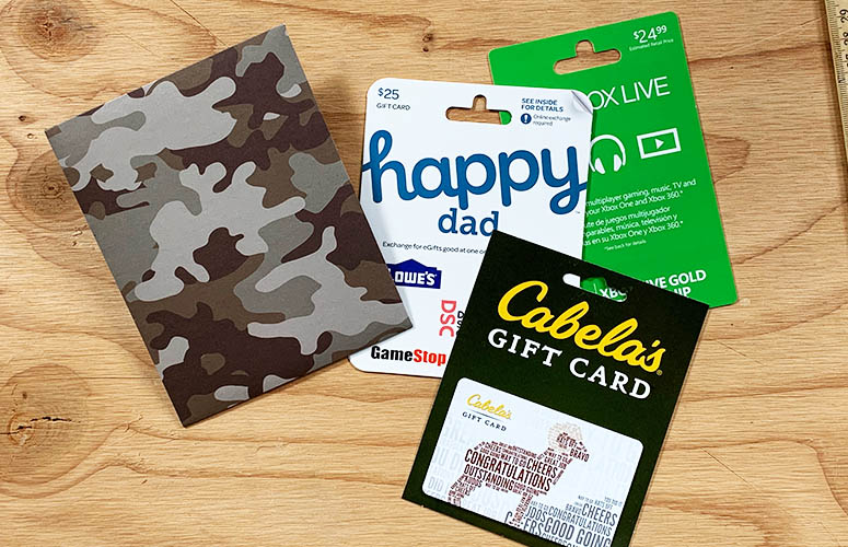 camo gift card holder for dad